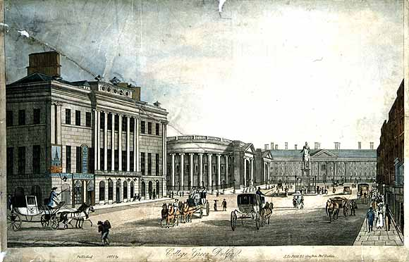 Henry Brocas, c. 1798 - 1873), engraver, Samuel Frederick Brocas, c.1792-1847. View of College Green, published Dublin, J Le Petit, 1828. From National Library of Ireland, http://catalogue.nli.ie/Record/vtls000036290